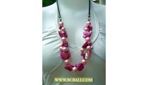 Pink Shells Nugets and Pearls Necklace Fashion