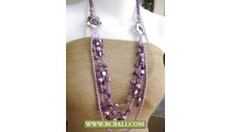 Purple Shells and Squins with Pearls Fashion Necklace