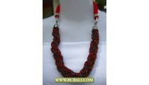 Reds and Black Squins wrap with Red cloth Necklace