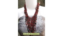 Reds and Black Squins Casandra Fashion Necklace