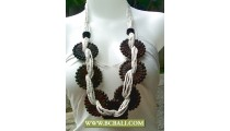 White Beads with Wooden Necklaces