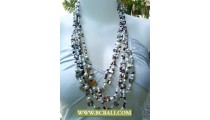 White Pearls and Shells Fashion Necklace with mix Beading