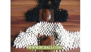 Bali Beads Stone Belts Wooden Clasps