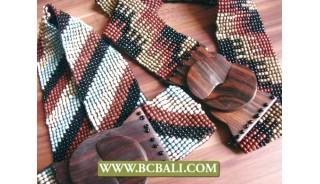 Bali Handmade Belt Beaded with Wooden Buckle