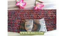 Beaded Belts Clasps Stretch Wood Buckle
