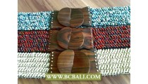 Beaded Stretch Belts Wood Bukcle