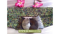 Belt Beads and Stone Stertch with Buckle Woods