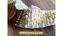 Fashion Belts Beading with Stone Wooden Clasps