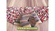 Woman Beaded Belt Fashion Wooden Clasps