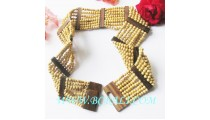 Natural Wood Beads Belt Stretch Handmade