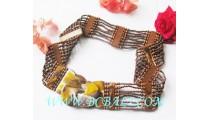 Handmade Beads Belts Wooden Buckle