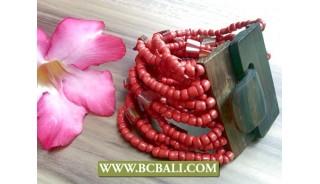 Bali Beads Brace;ets Natural Wooden Buckles