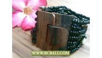 Bali Wood Buckle Handmade Bracelets Stretch