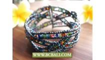 Beads Cuff Link Bracelets Multi Color Bali Fashion