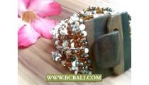 Beaded Stone Bracelets Elastic Wood Clasps