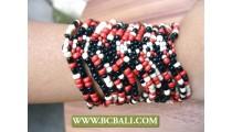 Glass Beads Cuff Bracelets Spacers Stretch