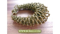 Golden Color Beads Multi Thread Bracelets Wired