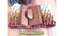 Multi Color Bead Wooden Clasps Stretch Wristband