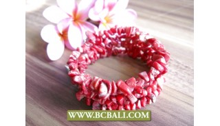 Red Stone Coral Bead Bracelet Roll