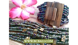 Unique Design Women Bracelets Wood Clasps