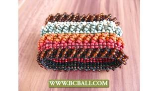 Beaded Wristband Glass Bead Rainbow Stretched