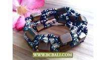 Balinese Ethnic Beads Wood Bracelet Stretch