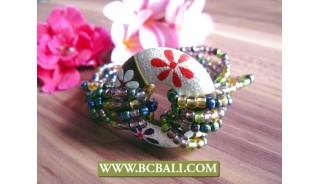 bead bracelets wooden handpainted flower
