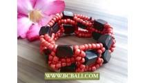 Ethnic Unique Beaded Wood Bracelet Stretching