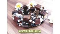 balinese handmade stretch bracelets wood