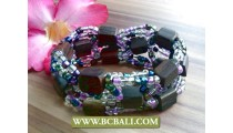 handmade bracelets beaded wood stretched