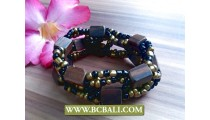 ethnic woode and beads bracelets stretch designs