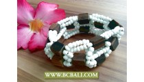 Ethnic Wooden Beaded Stretching Bracelet Handmade