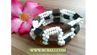 Ethnic Wooden Beaded Stretching Bracelet Handmade