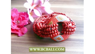 ladies bracelets beads with wood painting