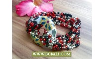 mix color beads wooden hand painting stretch