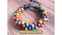 multi color beads wooden bracelets handmade