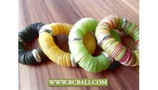 bali seashells coins stretch bracelets fancy color