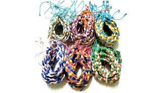 bracelets braid weave rainbow color mixed polyester