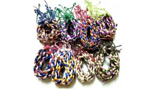 bracelets friendship braid strings rainbow color mixed