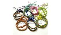 friendship hemp bracelets braids leather rainbow two color