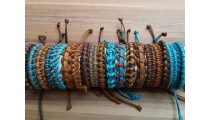 hemp leather braids bracelets mix color