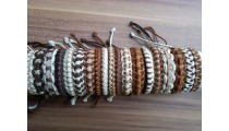leather hemp braids bracelets straw