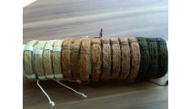3 color hemp bracelets natural with leather