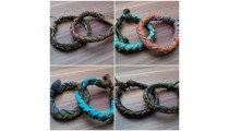 leather bracelet hemp for men's designs fashion