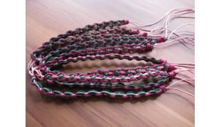 tree color friendship bracelet leather braids handmade bali.