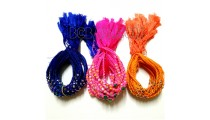 3 color braids bracelets strings charm glass bead