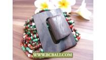 Balinese Wood Buckle Bracelets Stretch Multi