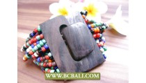 Beads Multi Color Seed Beads Wood Clasp