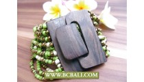 Mix Color Beads Strand Wooden Buckles