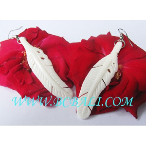 Bone Earring Carving Feather Bone Earring Carving Feather Design Handmade